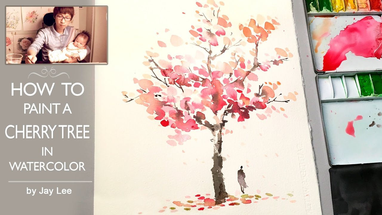 How to paint a cherry tree in watercolor painting trees for How to use watercolors for beginners