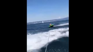 Guy Flew Off Water Tube When The Boat Takes A Sharp Turn