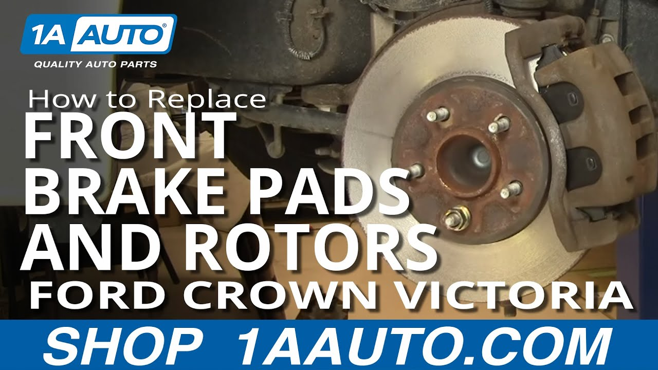 how to install replace front brake pads rotors ford crown victoria grand marquis 03 05 1aauto com youtube [ 1920 x 1080 Pixel ]