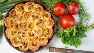 Пирог Хризантема с мясом и сыром