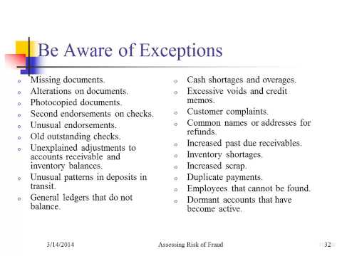 Exceptions and Red Flags to Fraud