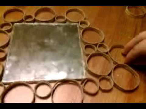 Decorar espejo con rollos de papel youtube for Espejos ovalados para decorar