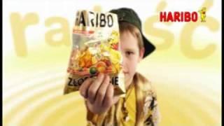 Reklama żelków Haribo z sokiem owocowym