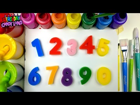 Learn Colors and Numbers for Kids and Hand Paint Stamps BirthdayCandyLand