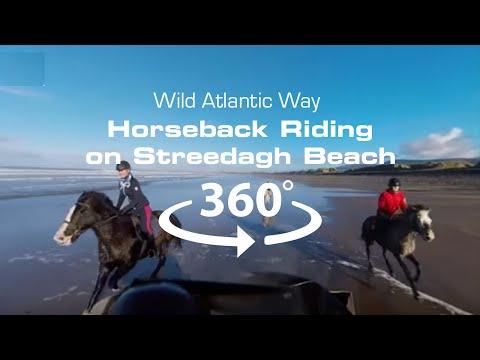 4K VR Drone: Riding horseback on the beach
