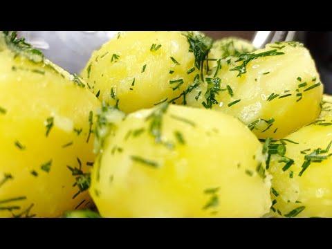 Картофель отварной с укропом, чесноком и сливочным маслом///boiled potatoes
