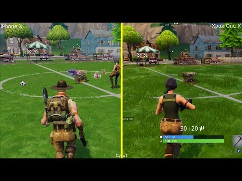 Fortnite Mobile iPhone X vs Xbox One X Early Graphics Comprison