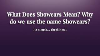 What does Showcars Mean?