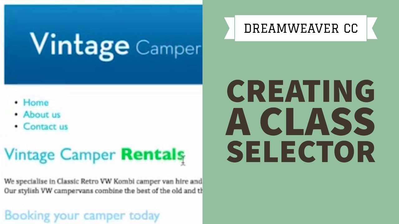 Creating a class selector in Dreamweaver CC [21/34]