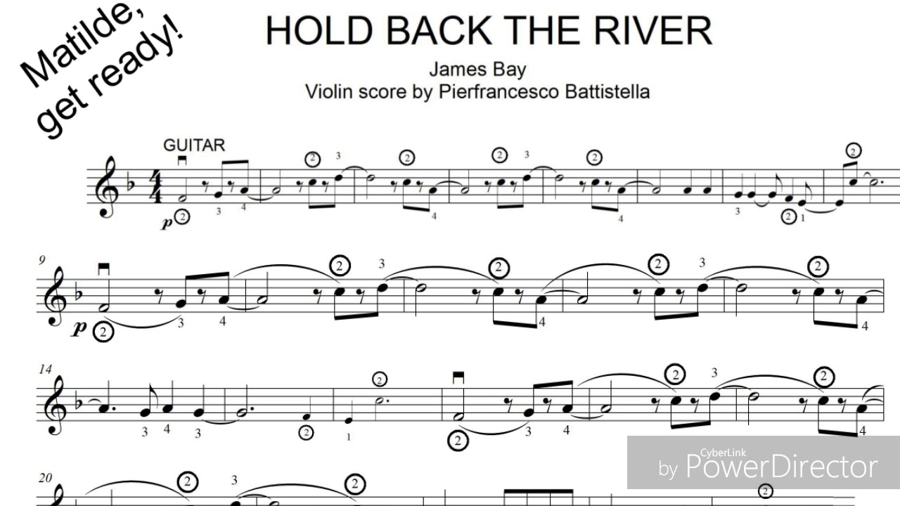 Hold Back The River Violin Sheet On Screen James Bay Youtube