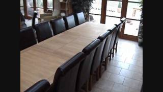 Large Tallinn Extending Oak Dining Table 12 14 16 Seater