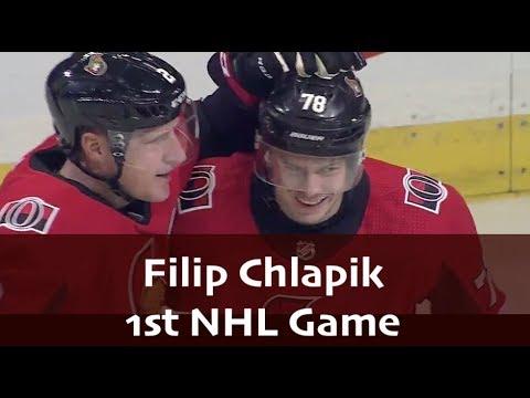 Filip Chlapik - 1st NHL Game Highlights
