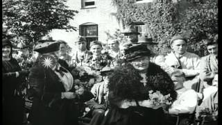 British women present flowers to injured US soldiers in England during World War ...HD Stock Footage
