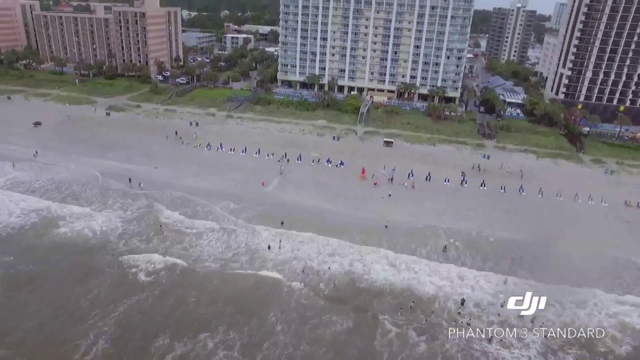 GREAT WHITE SHARK SITING IN MYRTLE BEACH CAUGHT ON DRONE