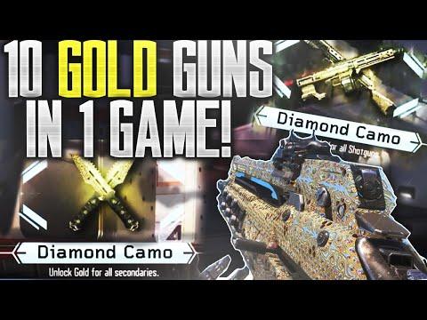 10 GOLD GUNS IN 1 GAME! - ALL Diamond Camo Guns in 1 Game! CRAZY REACTION! (BO3 Fastest Dark Matter)