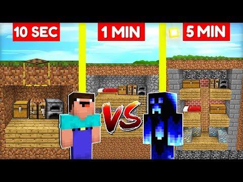 NOOB vs. PRO STAVÍ TAJNÝ BUNKR za 10 SEC / 1 MIN / 5 MIN v Minecraftu!