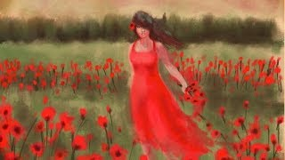 Girl In The Poppy Field . Speed Painting  iPad ProCreate
