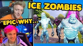 STREAMERS REACT TO FORTNITE ICE STORM EVENT / FULL SNOW MAP / ICE ZOMBIES