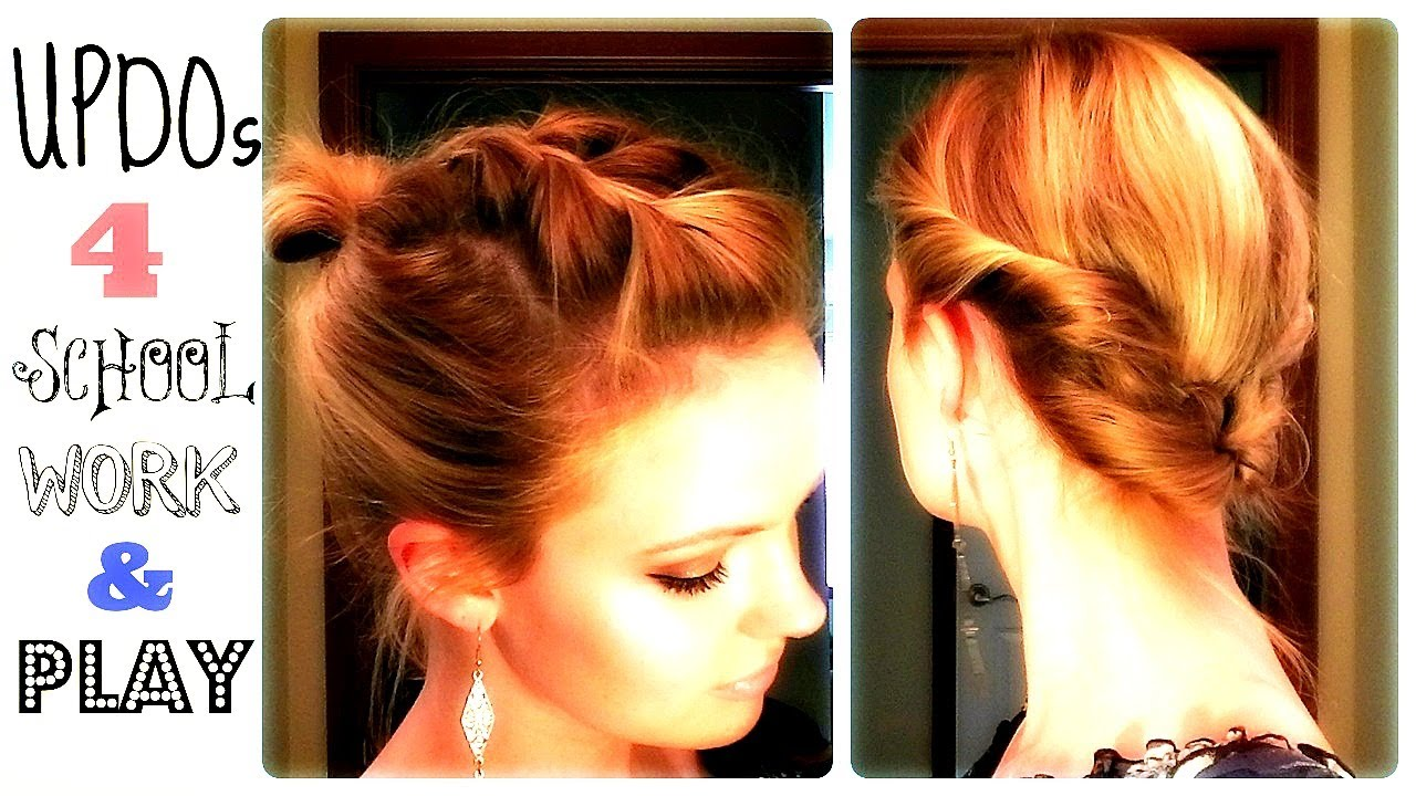 Hair Updos For Short Hair Pictures: 4 QUICK UPDOS 4 SCHOOL, WORK, And PLAY