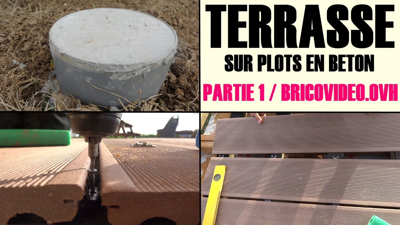 realiser une terrasse en bois composite sur plot en bton arm youtube