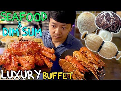 All You Can Eat SEAFOOD Buffet & LUXURY Dim Sum in Taipei Taiwan: Taiwan Food Tour