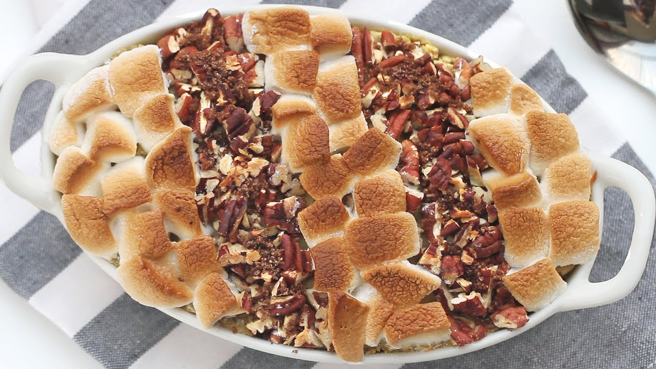 Sweet Potato Casserole With Marshmallow Pecan Topping 고구마
