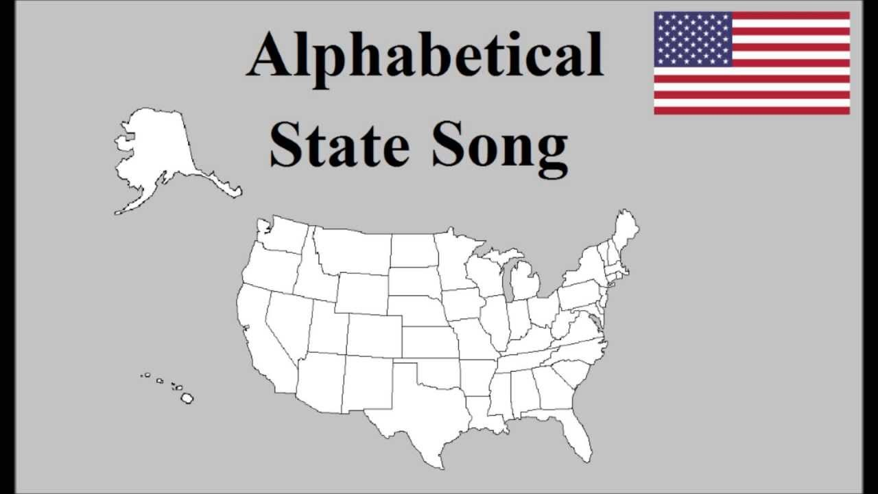 Alphabetical US State Song YouTube - Us states and capitals list map