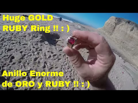 Sand Stone Beach GOLD & RUBY Ring ! Metal Detecting ! ORO Y