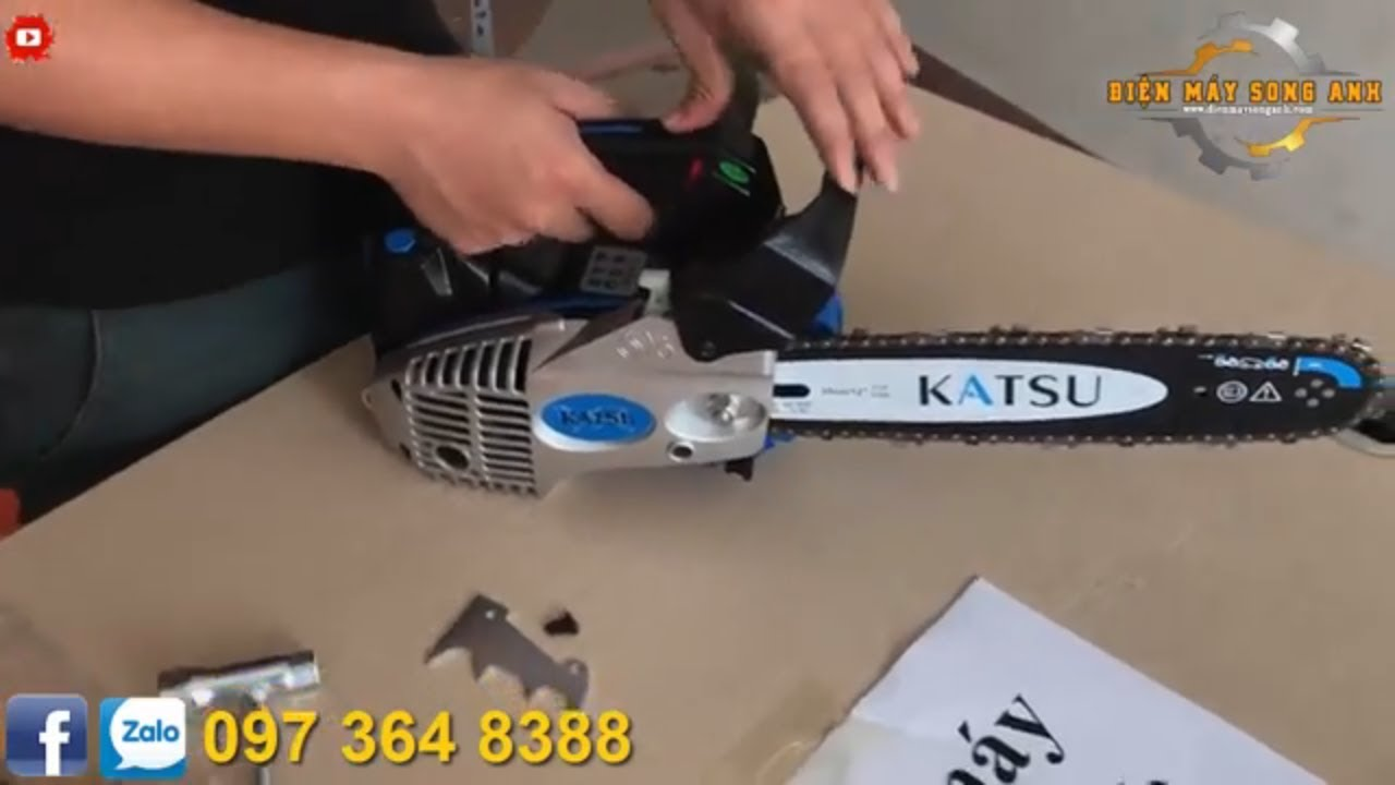 Máy cưa xích mini Katsu 2900, cưa tay cụt 3kg máy khỏe, cắt gỗ mini