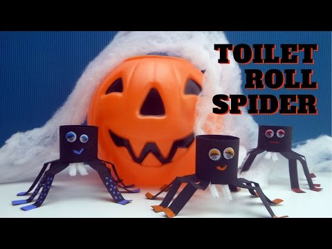 Halloween Craft - Toilet Paper Roll Spider - Toilet Paper Roll Crafts