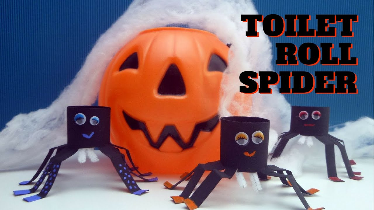 halloween craft - toilet paper roll spider - toilet paper roll