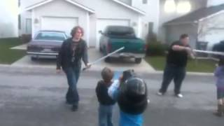 Drunk Jedi defeated by younglins