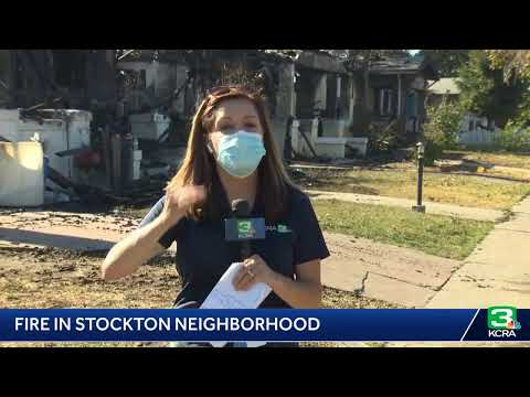 Crews battle 4-alarm fire in Stockton near Stanford Avenue and Harding Way