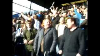 Blunts leaving Leppings Lane. Sheffield Derby February 2012. Worse derby support we've ever seen.