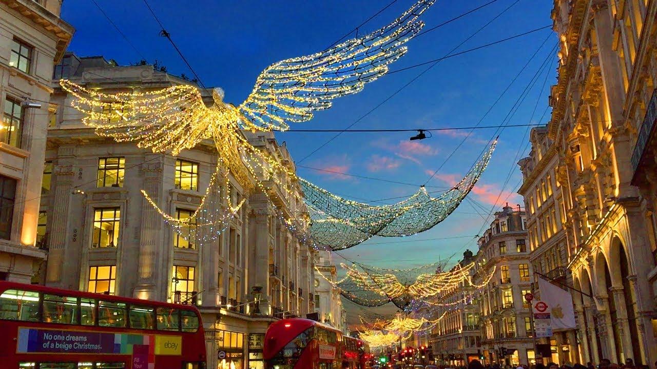 England Christmas.London Walk Regent Street Christmas Lights And Xmas Window Displays England