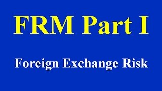 FRM Part I: Foreign Exchange Risk Part I(of 2)