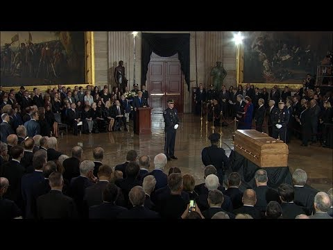 President Trump delivers remarks as Rev. Billy Graham lies in honor at the US Capitol