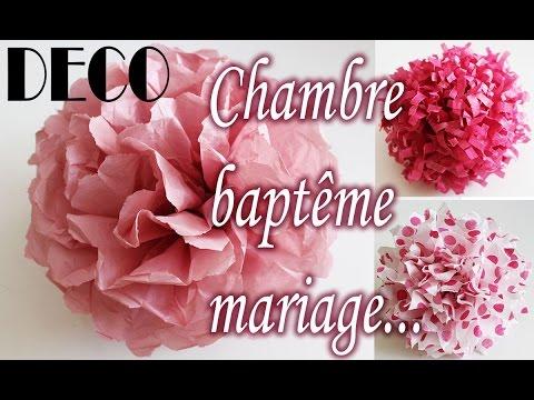✎ TUTO déco clair, fleur papier soie, chambre, baptême, mariage, etc...
