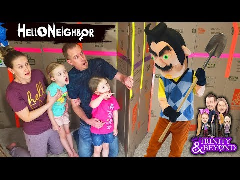 HELLO NEIGHBOR in Real Life in HUGE Box Fort Escape Room!!! Escaping Hello Neighbor! Part 4 thumbnail