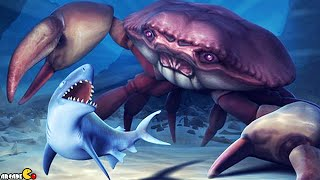 Hungry Shark Evolution: NEW Baby King Shark Team Up Mr. Snappy Mosasaurus Vs GIANT CRAB!