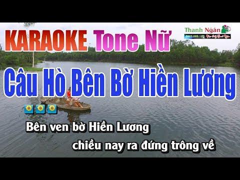 Câu Hò Bên Bờ Hiền Lương Karaoke | Tone Nữ - Nhạc Sống Thanh Ngân