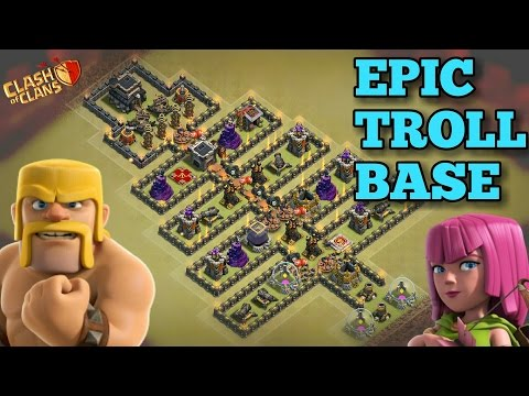 Clash Of Clans   TH9 Troll Game Base   CHRISTMAS Tree   Epic Troll Base + Funny Fails