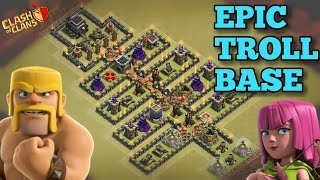 Clash Of Clans | TH9 Troll Game Base | CHRISTMAS Tree | Epic Troll Base + Funny Fails