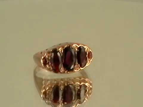 OVAL GARNET ANTIQUE PINK GOLD RING