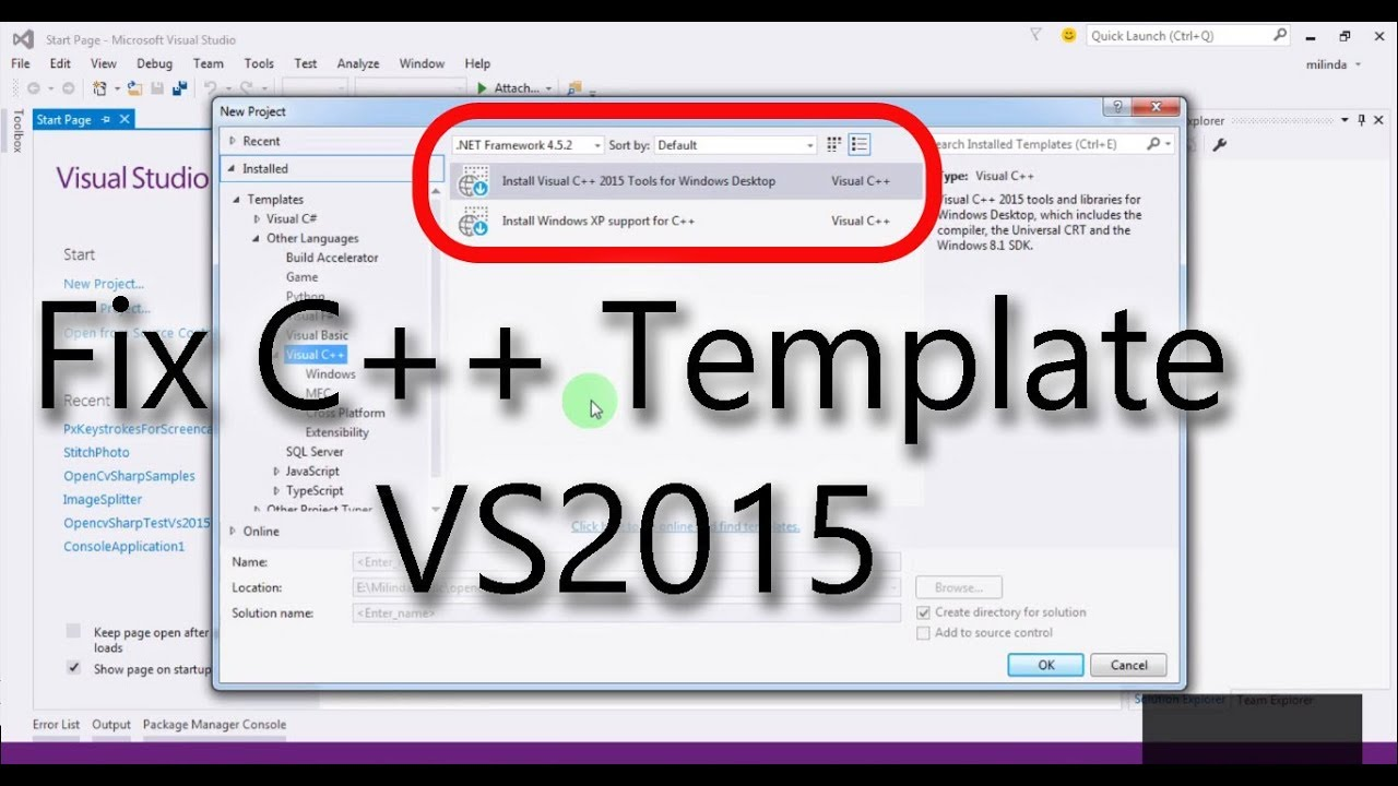 Visual Studio Project Template | Add C Templates For Vs2015 Create First C Project On Visual