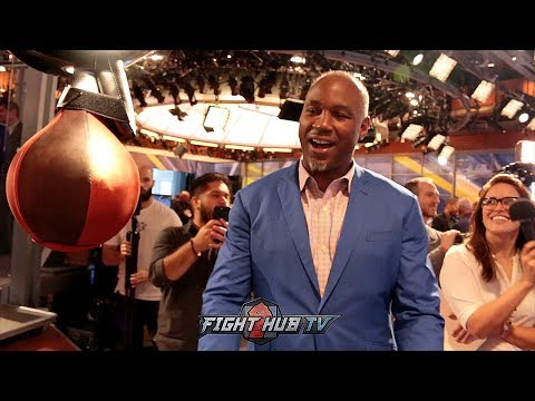HEAVYWEIGHT POWER! LENNOX LEWIS SMASHES THE PUNCH MACHINE ! GETS A SCORE OF 843LBS OF POWER!