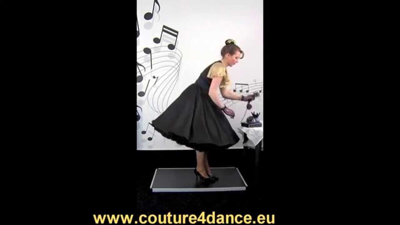 Tellerrock / Circleskirt Schwarz-Gold + Shirt Eliana + Petticoat Cinderella, Schwarz