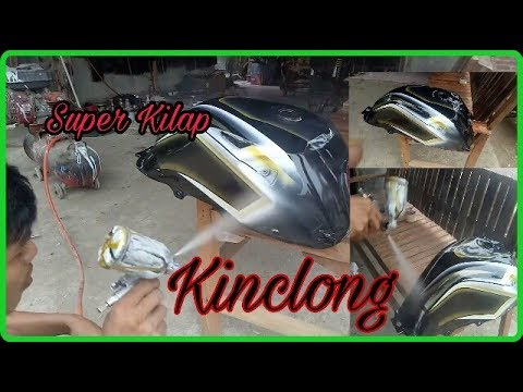proses finishing tanki motor tiger revo airbrush cat clear blinken