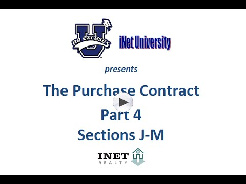 Hawaii Purchase Contract Explanation - Pt 4 - Sec J-M