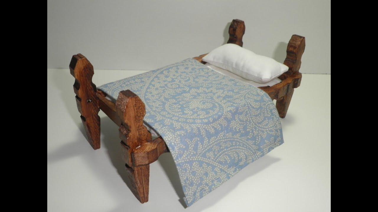 Tutorial para hacer una cama con pinzas de madera - Manualidades con madera faciles ...